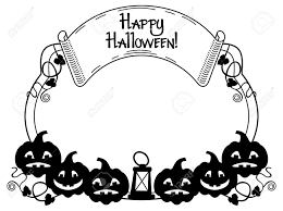 black and white frame with halloween pumpkin and text