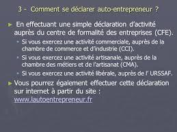 declaration auto entrepreneur chambre des metiers réunion d information et de travail le 20 01 09 ppt télécharger