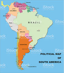 south america map bolivia political map of south america in vector format stock vector