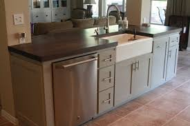kitchen island with sink dimensions curved pull down chrome sink