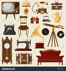 Set Vintage Home Furniture Accessories Retro Stock Vector - Retro home furniture