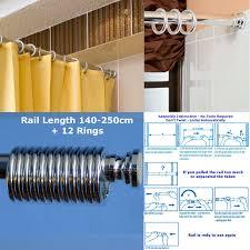 Suspended Curtain Rail 140 250cm Spring Loaded Extendable Telescopic Shower Curtain Rail