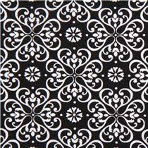 black flower ornament fabric by henry glass ornament