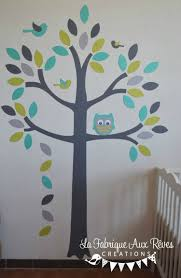 chambre bébé turquoise stickers arbre turquoise vert anisle gris hibou oiseaux décoration