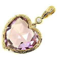 amethyst jewelry necklace images 6 85ct heart amethyst diamond pendant necklace 14k yellow gold jpg