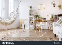 cozy working place white room hammock stock photo 596315963