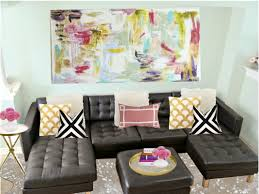 Black Leather Sofa With Cushions Living Room Wonderful Colorful Abstract Art On Canvas Ideas For