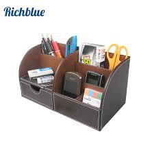 Desk Pencil Holder Half Pu Leather Desk Stationery Organizer Pen Pencil Holder Box