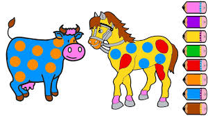 cute cow and horse coloring pages drawing animals for kids youtube