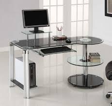 walker edison 3 piece contemporary glass and steel desk