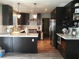 contemporary dark java cabinets with decorative end shelf and