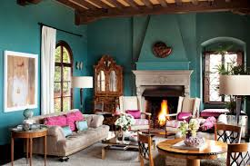 living room living room in spanish with beautiful blue painted