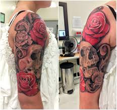 completed 1 4 sleeve roses with skull and filigree wylde sydes