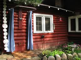 Outdoor Shower Curtains Inspiring Vintage Log Cabin Backyard Views With Blue Sliding