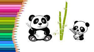 cute baby panda coloring pages for kids to learn to color for