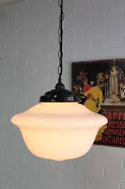 Schoolhouse Style Pendant Lighting Schoolhouse Lights Large Classic Pendant Opal Glass Shade