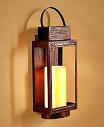 Flameless Candle Wall Sconce Set 2 Amazon Com Brown Etched Metal Indoor Outdoor Wall Sconce
