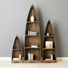 Canoe Shaped Bookshelf Boat Bookcase Ebay