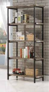 Steel Frame Bookcase Skelton Collection Salvaged Cabin Wood Finish With Black Metal