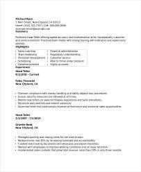 Bank Teller Skills For Resume Banking Resume Samples 45 Free Word Pdf Documents Download