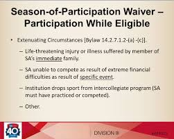 Extenuating Circumstances by Division Iii Student Athlete Reinstatement Fundamental