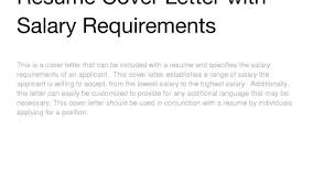 100 including salary requirements in cover letter random