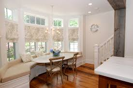 modern window treatments dining room rustic with bench seating