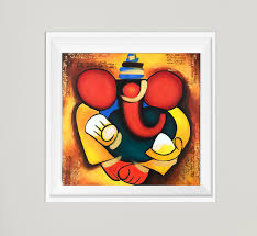 ganesha print indian painting contemporary art traditional