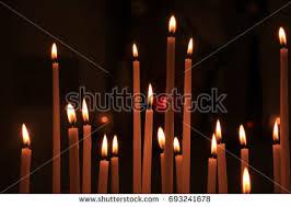 vigil lights catholic church long thin candles roman catholic church stock photo 693241678