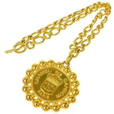 coin necklace vintage images Chanel vintage gold large round coin charm rue cambon pendant jpg