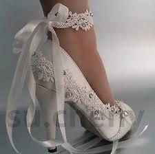 wedding shoes size 11 3 4 heel satin white ivory lace ribbon ankle open toe wedding