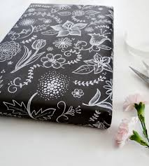 flowers vines chalkboard wrapping paper sheets inactive
