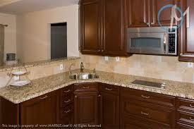 Backsplash With Venetian Gold Granite - kitchen with mid dark cabinets and new venetian gold counters not