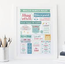 personalised colourful family rules print by wink design