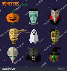 Frankenstein Monster High Halloween Costumes by Halloween Monster Set Icons Pumpkin Ghost Stock Vector 214111165