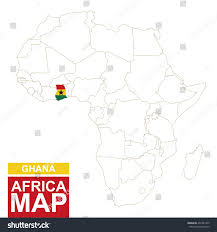 Ghana Map Africa by Africa Contoured Map Highlighted Ghana Ghana Stock Vector
