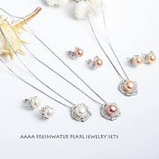 jewelry sets big flower 925 sterling silver fresh water pearl jewelry sets