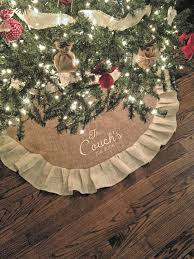 monogrammed christmas monogrammed burlap tree skirt done and done christmas tree