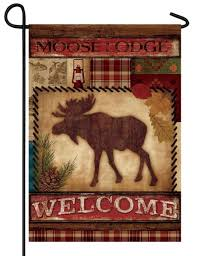 Moose Themed Home Decor by Lodge Welcome Garden Flag