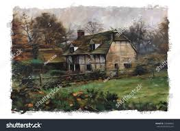 old english cottage pastel watercolor oil stock illustration