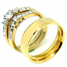 couples ring sets rings set womens 14k gold plated small cz engagement
