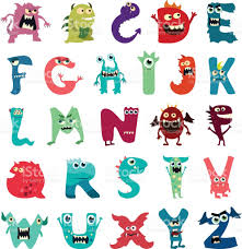 cartoon flat monsters alphabet big set icons colorful monster kids