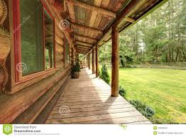 front porch of the old rustic log cabin stock images image