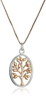 rose tone necklace images Sterling silver and rose gold flashed family tree two jpg