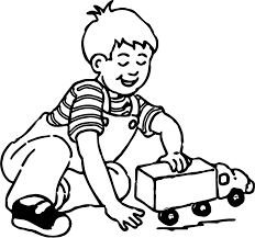 playing boy at toy car coloring page wecoloringpage