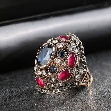 big finger rings images 2017 new women rings colorful resin ancient gold turkey design jpg