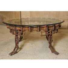 round industrial gear coffee table with glass top for sale at 1stdibs