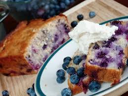 blueberry banana pound cake with mascarpone whipped cream