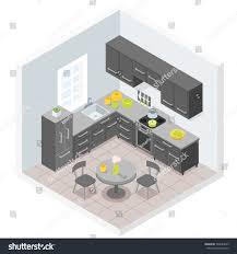 modern kitchen furniture design dark modern kitchen furniture design illustration stock vector