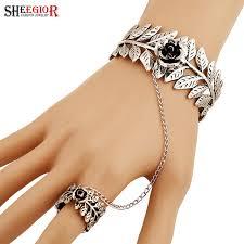 silver leaf bracelet images Sheegior vintage ethnic silver cuff bracelet hollow leaf rose jpg